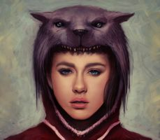 red riding hood-wolf hood by Rats-in-the-van