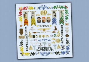 Harry Potter cross stitch pillow sampler by cloudsfactory