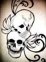 skull tattoo by MurasakiButterfly