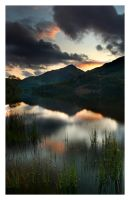 Sunset at Llyn Gwynant by tobyedwards