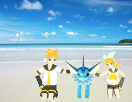 Len and Rin Kagamine Meet Vaporeon by The-Insane-Puppeteer