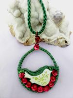 Green red pendant and bird by Mirtus63