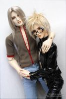 Cloud and Sephiroth in casual clothes by scargeear