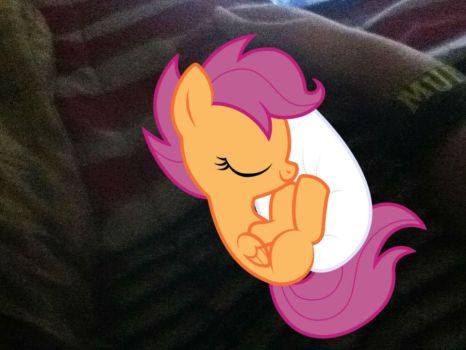 Scootaloo sleeping by me by DarthVader447