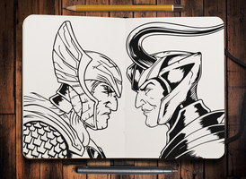 Marvel Comics: Thor And Loki (Sketchbook) by RobertoJOEL1307