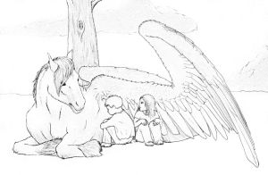 Digory, Polly and the Pegasus by Pittyputty