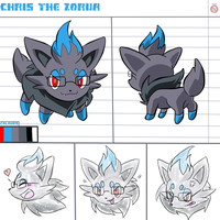 CM: Chris the Zorua reference sheet by shadowhatesomochao