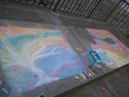 Katie and My Chalk Drawings by Sincitykid
