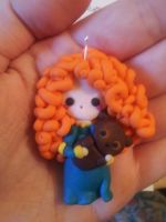 Disney's Merida and Bear : Clay Pendant by FantasySystem