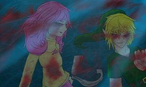 Fluttershy and Ben Drowned by MidnightDash2137