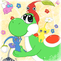 Yoshi and Pikmin by Isi-Daddy