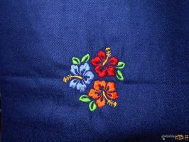 Embroidered Hibiscus in Blue by gishzida