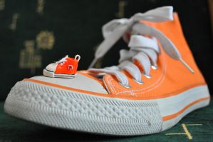 clay orange converse with real by cihutka123