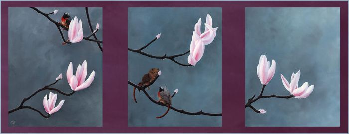 Songgryphons on Magnolia Twigs by songgryphon