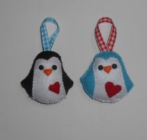Plush Felt Penguin Christmas Ornaments by kiddomerriweather