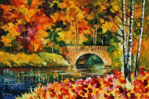 Fall bridge by Leonid Afremov by Leonidafremov