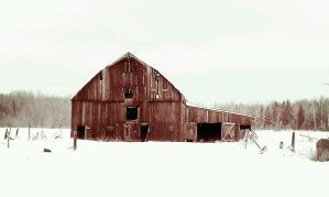 Abandoned Barn in Winter by capturedpoetry