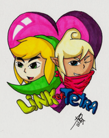 Chibi Link and Tetra by kukotte