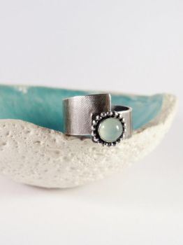 Aqua calcite silver ring by Kreagora
