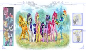 Cardfight! Vanguard - MLP Mane 6 Custom Mat by RoboTheHoobo