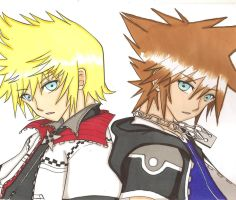 Sora and Roxas by ClaireRoses
