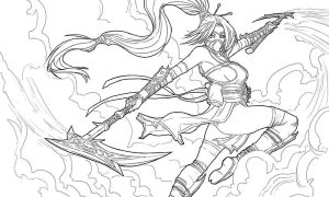 Akali splash lineart by Dre0083