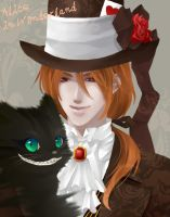 Mad Hatter and Cheshire Cat by foggykay
