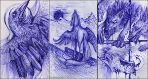 Ballpen sketches by Alai-Corvus-Aorax