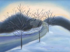 Pastels: Snowy Road by acat48