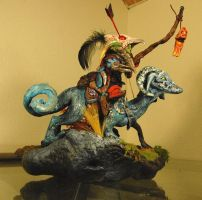 Dragon and Goblin Rider Sculpt by Miki-
