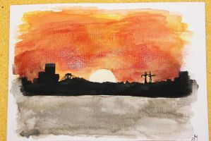 Sunset, watercolour-postcard. by Juuulz