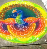 Peacock Mandala- Sidewalk Chalk by i-HeartArt