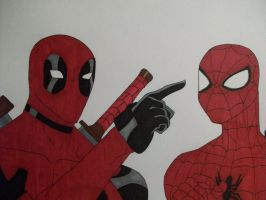 Deadpool and Spiderman by OptimusPrimesGal