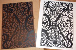 Tourettes linocut by axlesax