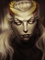 Female qunari sketch by NKarlie