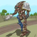 Comm KojimaStorm: Hatchetman 'Mech 'Patchwork' by prdarkfox