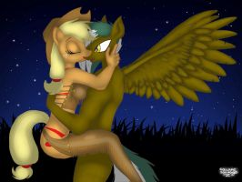 Applejack and Kona's Embrace by SquareSausage