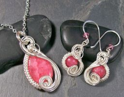 Rhodochrosite a Silver Swish Earring/Necklace Se by HeatherJordanJewelry