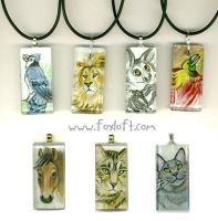 Sumi Glass Pendants - Group 10 by Foxfeather248