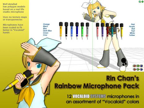 MMD Accessory - Rainbow Microphone Pack by Trackdancer