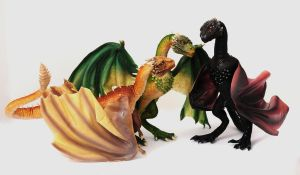 Game of Thrones, Viserion, Rhaegal, Drogon by FellKunst