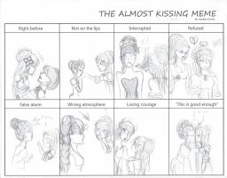 Hassanah and Eleanore in the Almost kissing meme by MonMonMouse