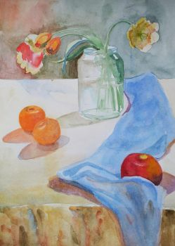 Flowers and an apple by Luzblanca