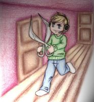 PewDie with a scissor by Naruneyl