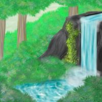 Plants and water and a rock by TTSnim