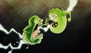 Slimer vs. Doop by likemoyd
