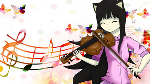 Musical Kitty-girl Wallpaper by AlanxKitsune