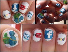 social network nails 2 by Ninails