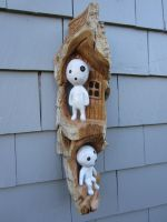 Kodama spirits with a tree house by alesthewoodcarver