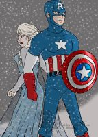 Queen Elsa and Captain America by Kelticmoon24